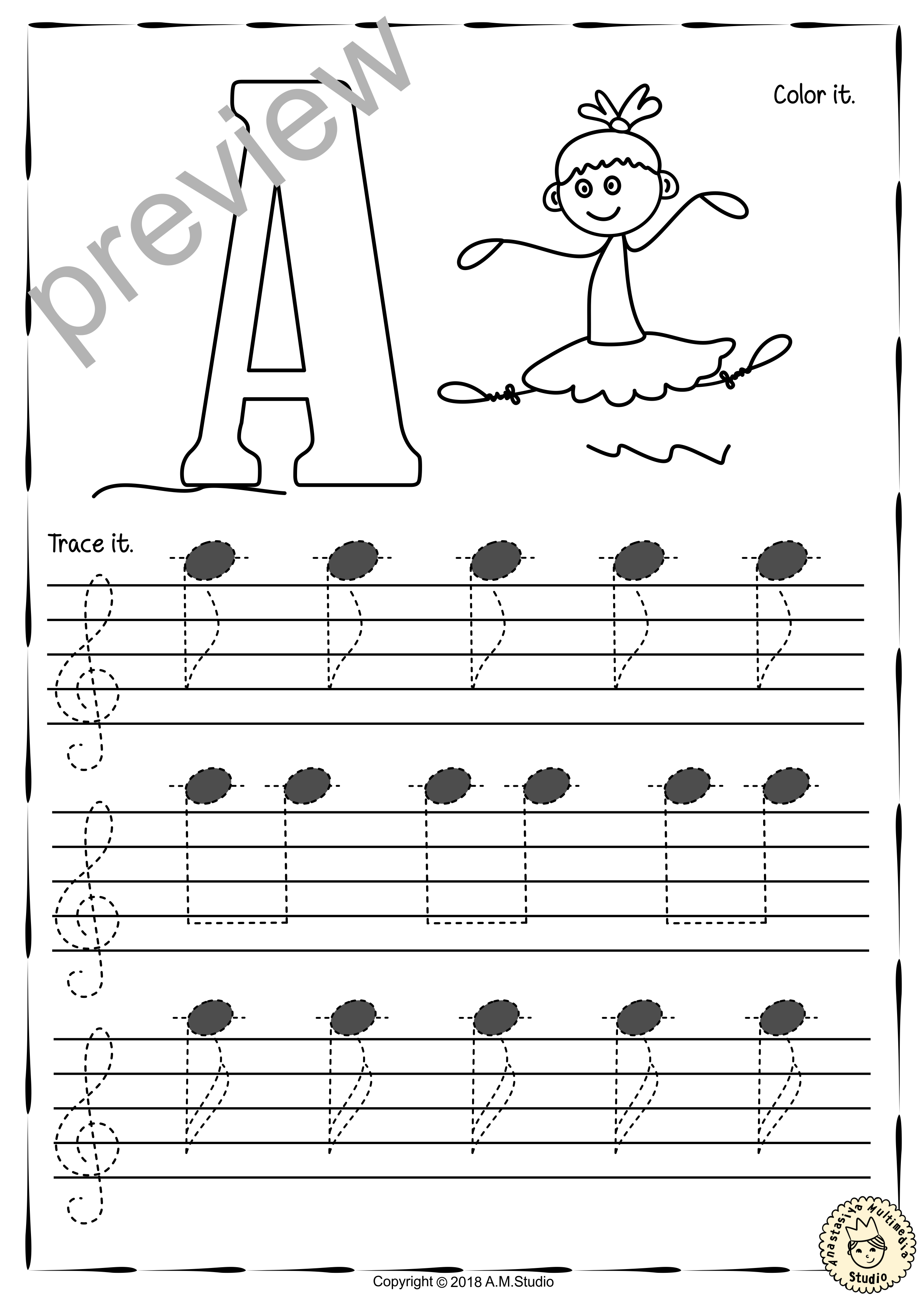 Tracing Music Notes Worksheets for kids Treble Clef from Regarding Treble Clef Notes Worksheet
