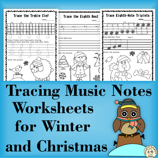 Tracing Music Notes Worksheets for Winter and Christmas from ...