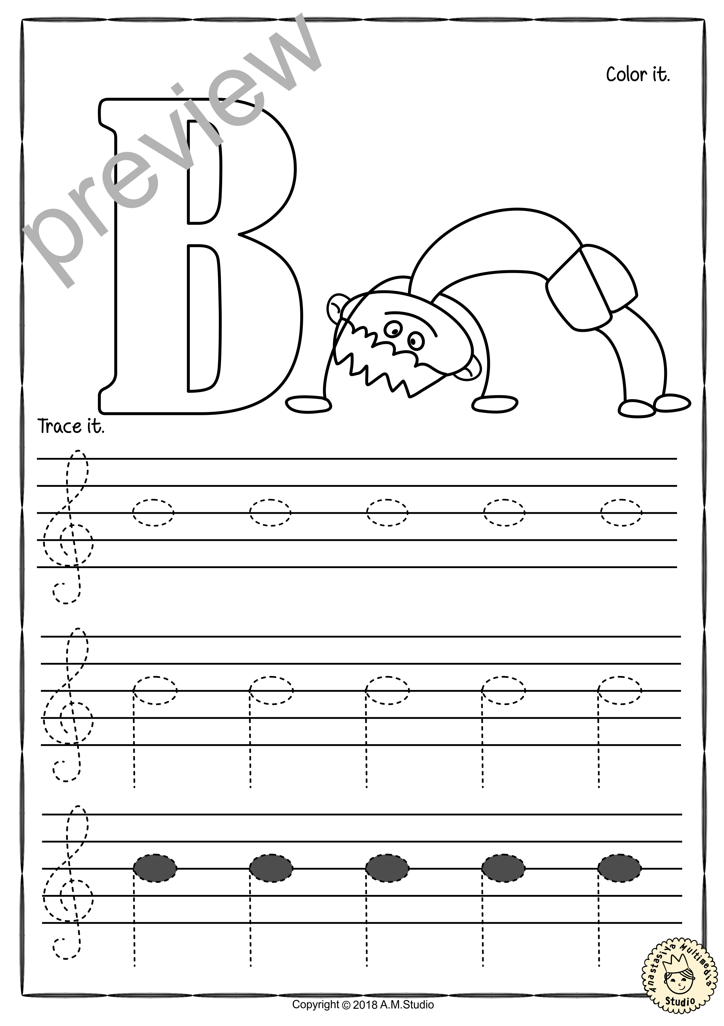 Tracing Music Notes Worksheets for kids Treble Clef from Throughout Treble Clef Notes Worksheet