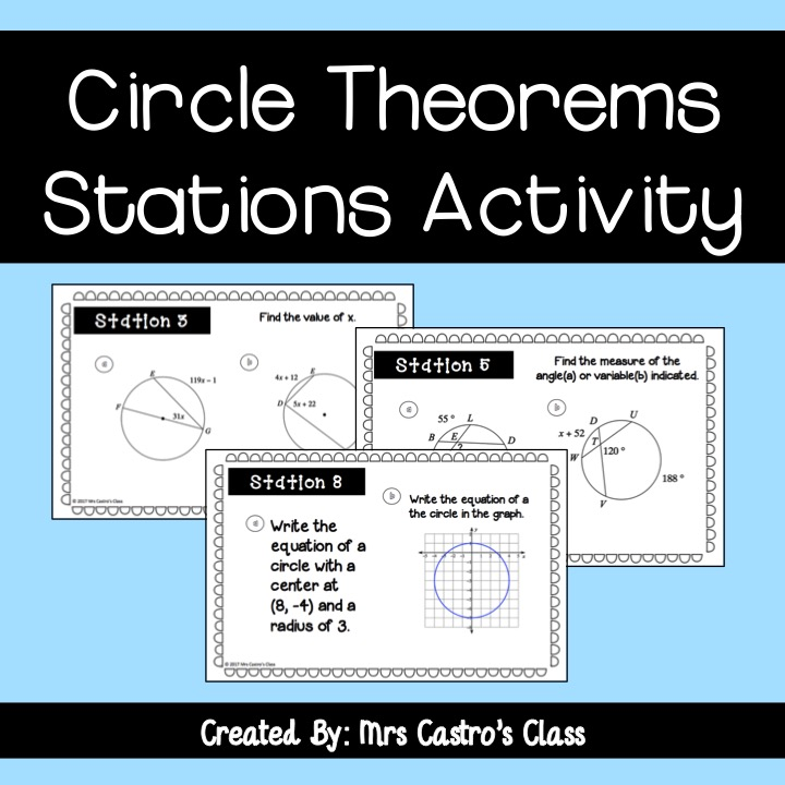 Circle Theorems Stations Activity from Sine on the Line